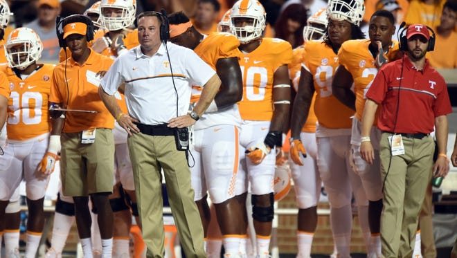 Tennessee coach Butch Jones on the sideline during the game against Appalachian State  on Sept. 1, 2016.