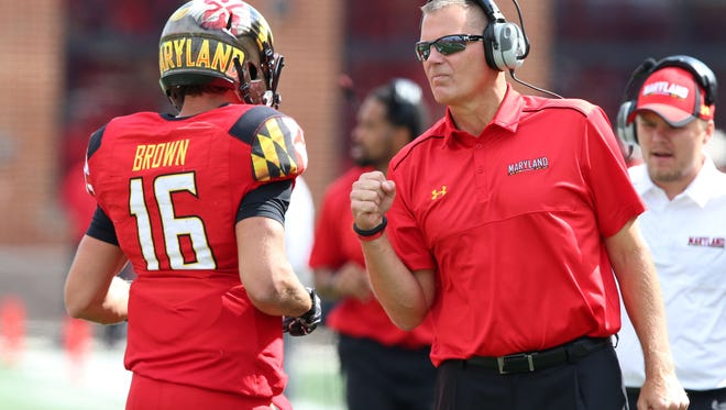 Maryland quarterback C.J. Brown and coach Randy Edsall