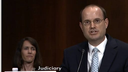 Tallahassee's Allen Winsor testifies before the Senate Judiciary Committee on May 23, 2018 after being nominated by President Trump for a federal judgeship in the Northern District of Florida.