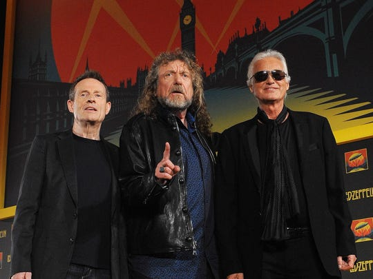 The British rock band Led Zeppelin, featuring (from left) John Paul Jones, Robert Plant and Jimmy Page are the band Desert Sun readers most want to see at the next Desert Trip