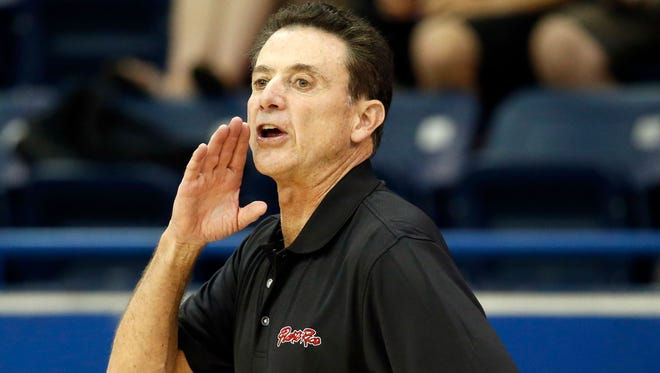 Puerto Rico coach Rick Pitino in a men's basketball preliminary round game against Venezuela during the 2015 Pan Am Games at Ryerson Athletic Centre.