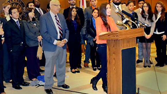 Mariana Castro speaks at a press conference in Tallahassee, FL where the University of Florida group Gators for Tuition Equity lobbied for the bill to pass.