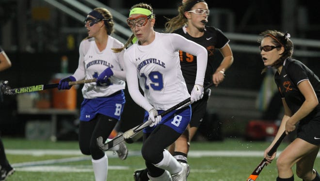 Bronxville's Lilly Grass, pictured here in the team's sectional final game against Pawling last season, scored twice to help the Broncos defeat North Rockland 4-2 on Saturday, October 10th, 2015.