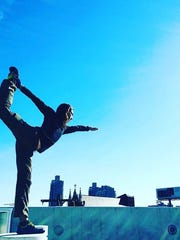 Bluedeer yoga instructor Justin Marx practices asanas in Philadelphia.