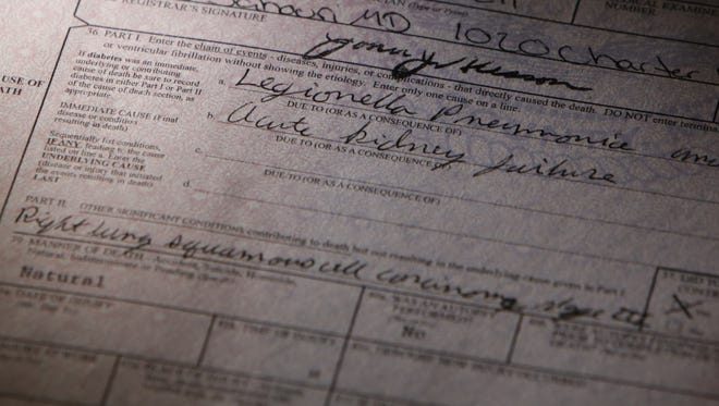 The death certificate of Flushing resident Dwayne Nelson 63, who died of Legionella pneumonia Aug.7, 2015. Nelson was treated at a hospital in Flint, where he was exposed to the municipal water system almost two weeks before being diagnosed with Legionnaire's disease.