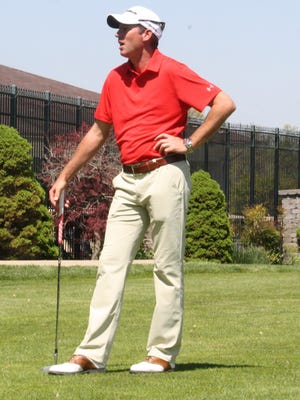 Jim Herman, a PGA Tour professional, speaks at his home club, Clovernook Country Club, on April 24.