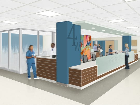 Plans for a nurse's station at Inspira Mullica Hill are shown in a rendering by Array Architects.