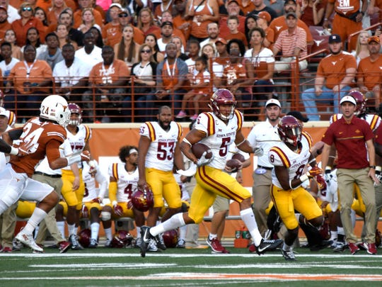 Oct 15, 2016; Austin, TX, USA; Iowa State Cyclones wide receiver Allen Lazard (5) carries the ball against the Texas Longhorns during the first quarter at Darrell K. Royal-Texas Memorial Stadium. Mandatory Credit: Brendan Maloney-USA TODAY Sports