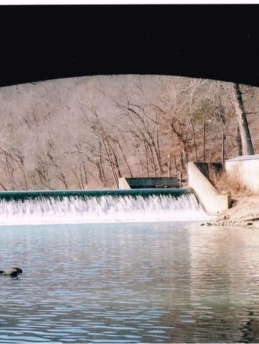 The dam at Bennett Spring before opening day of the