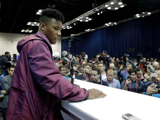 Penn State running back Saquon Barkley speaks during a press conference at the NFL football scouting combine, Thursday, March 1, 2018, in Indianapolis. (AP Photo/Darron Cummings)