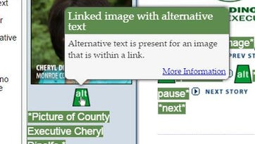 Screen grab of alternative text links for images on Monroe County home page.