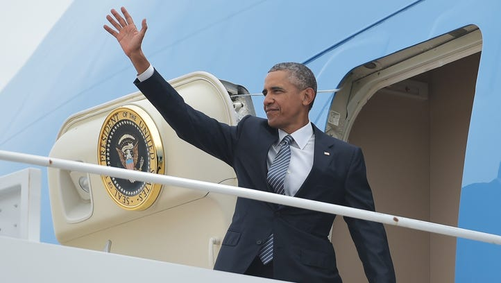 President Obama boards Air Force One on Monday at Andrews