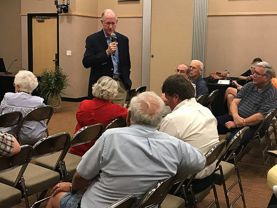 U.S. Rep. Mike Conaway answers questions at a town