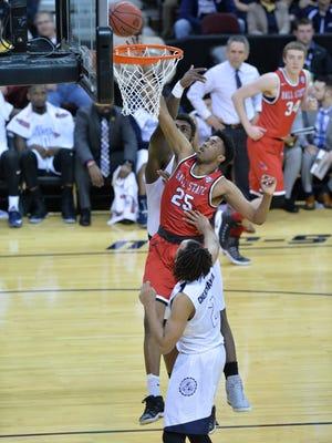 Tahjai Teague had a career-high 19 points Friday in the Cardinals' MAC Tournament loss.