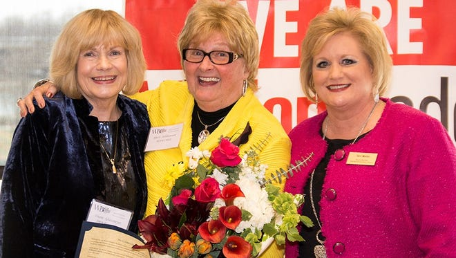 From left, are Athena chair Diane Glassmeyer, 2018 Athena recipient Shari Williamson, and Women's Business Council president Terri Martin.