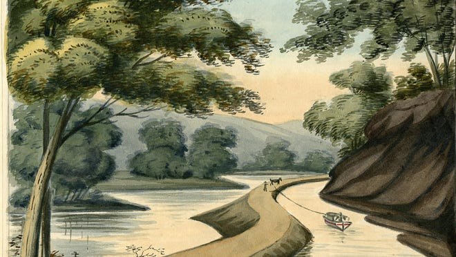 In this 1825 watercolor painting provided by the University of Michigan's William L. Clements Library, a section of the Erie Canal by Episcopalian minister John Henry Hopkins is shown. Arthur Cohn, director emeritus of the Lake Champlain Maritime Museum, is traveling New York's Erie Canal and exhibiting prints of rarely-seen, nearly 200-year-old artwork of the waterway.