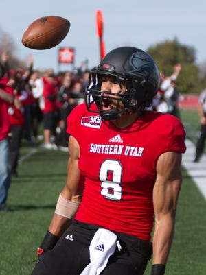Fatu Moala of Southern Utah yells after scoring a touchdown during the Thunderbirds' 2012 win over Eastern Washington.