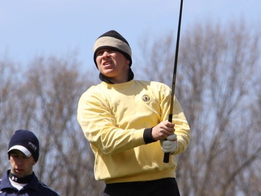 Spring Grove grad Shane Henry, shown here teeing it up for Millersville University. (From Millersville website)