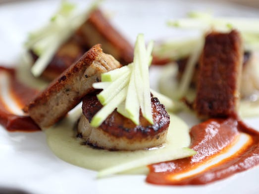 Diver scallops with crispy pork belly, green apple, and Guajillo, photographed at 121 Restaurant in North Salem.