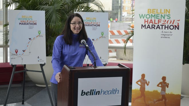 Race director Linda Maxwell discusses the new Bellin Women's Half Marathon during a news conference at KI Convention Center in Green Bay on Thursday morning, April 30. The inaugural event will be Sept. 26 along the bay of Green Bay.
