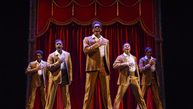 """Actors playing the Temptations in the touring version of """"Motown: The Musical,"""" which will be at the Fisher Theatre Tuesday through Nov. 16."""