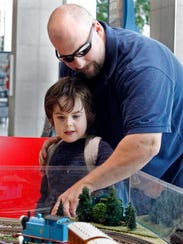 James Wettengel, 4 and his father Brian, from Cudahy,