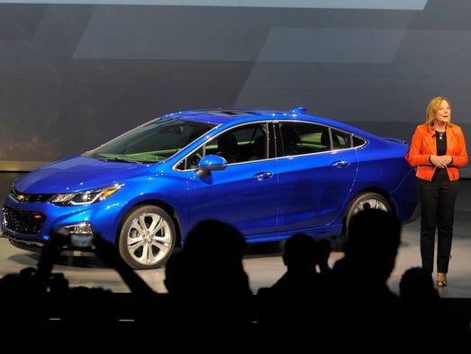 Mary Barra, GM CEO, reveals  the 2016 Chevrolet Cruze,