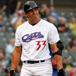 May 23, 2013; Fort Worth, TX, USA; Fort Worth Cats designated hitter Jose Canseco (33) reacts to striking out in the bottom of the first inning of the game against the Edinburg Roadrunners at LaGrave Field in Fort Worth.