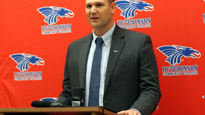 Drew Dallas talks about his appointment as the new head football coach of the Hutchinson Community College Blue Dragons during a news conference in this file photo.