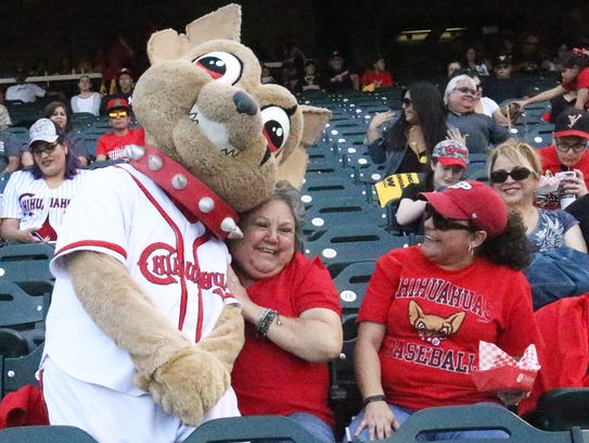Chico the El Paso Chihuahuas mascot snuggles up to