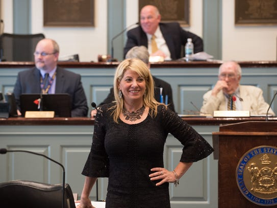 Delaware House Majority Leader Valerie Longhurst, D-Bear, is seen at Legislative Hall in Dover.