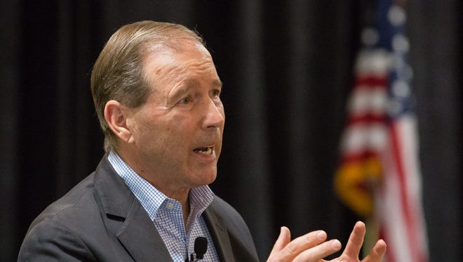 U.S. Sen. Tom Udall, D-N.M speaks with constituents on Monday, April 17, 2017, during a town hall meeting at the Las Cruces Convention Center. Udall was joined by U.S. Sen. Martin Heinrich, D-N.M. to answer New Mexican's questions and to discuss important issues.