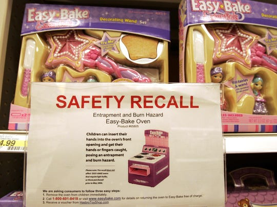 A safety recall notice for the Easy-Bake Oven by Hasbro is posted on the shelves in a Target store in Richmond, Va., Tuesday, Aug. 14, 2007.