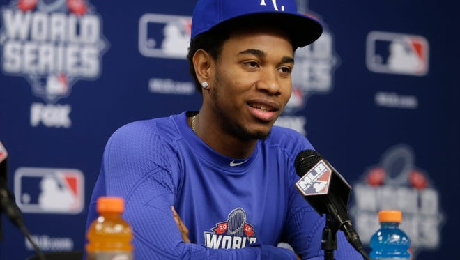 Kansas City Royals starting pitcher Yordano Ventura reacts to a question during a news conference before Game 3 of the Major League Baseball World Series against the New York Mets, Thursday, Oct. 29, 2015, in New York. (AP Photo/Frank Franklin II)