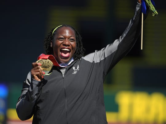 Amber Campbell reacts after medaling in the women's hammer throw final in the 2016 U.S. Olympic track and field team trials at Hayward Field.