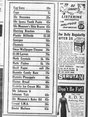 This ad for Beiter and Flege Drugs ran in the April 8, 1948 Lancaster Eagle-Gazette.