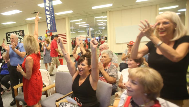 Vote watchers celebrate a state being called for Donald Trump on Tuesday night at the GOP headquarters in La Quinta.