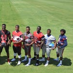 The 2014 Dandy Dozen (from left) Cameron Myers of Oak Grove, Timothy Washington of Oak Grove, Leo Lewis of Beookhaven, Jamal Peters of Bassfield, Jay Johnson of Bruce, Dontae Jones of Louisville, Gabe Campbell of Yazoo City, Javon Peterson of Petal, Armani Linton of Walnut, Fletcher Adams of Brandon, Malik Dear of Murrah and Darrell Henderson of South Panola.