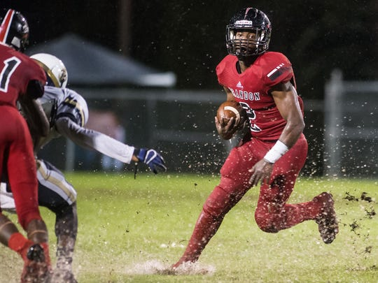 Brandon's Jordan Willis (2) tries to get outside against Pearl Friday in Brandon. (Bob Smith-Special to the Clarion Ledger)