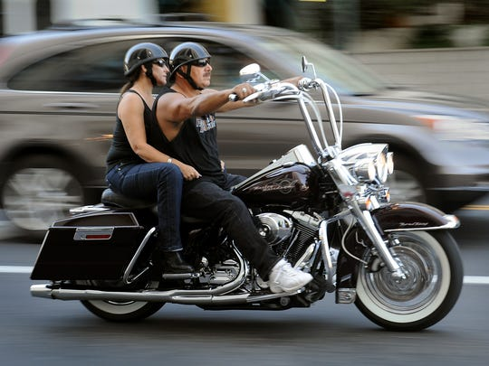 Bikers ride through downtown Reno during a previous year's Street Vibrations.