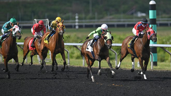 Fox Rox, center, beats Midnight Punk, at right, to the finish in the first race Monday at Presque Isle Downs & Casino in Summit Township. Monday was the first day of horse racing for the 2020 season at Presque Isle Downs.