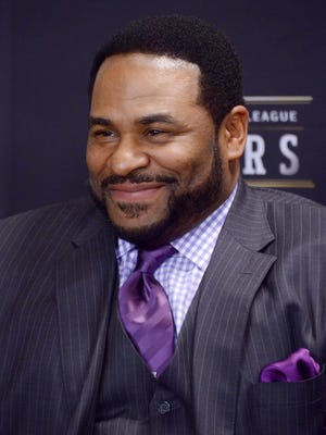 Former Pittsburgh Steelers running back and Detroit native Jerome Bettis looks on during a press conference to introduce the 2015 Pro Football Hall of Fame inductees.