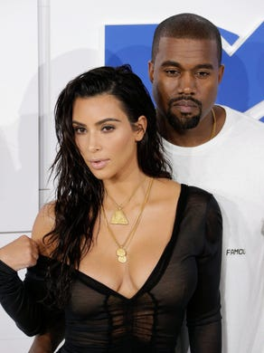 Kardashian and West arrive on the red carpet for the 33rd MTV Video Music Awards at Madison Square Garden.