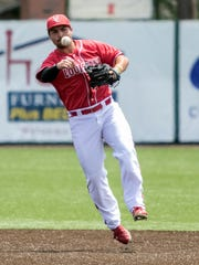 Brenn Conrad handles a ball at second in UL's 1-0 win over Texas State on Sunday.