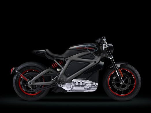 LiveWire is Harley-Davidson's first electic motorcycle. The evil-looking, matte-black finish machine is one of a small deomnstartion fleet that will be toted around the U.S. to guage interest.