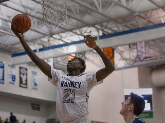 Ranney's Savior Akuwovo puts in a lay up during first half action. CBA vs Ranney School in Shore Conference Tournament Semifinal game in Toms River NJ on February 22, 2018.