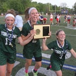Yorktown players celebrate their 10-9 victory over Somers in the Section 1 Class B championship game at Mahopac High School May 26, 2016.