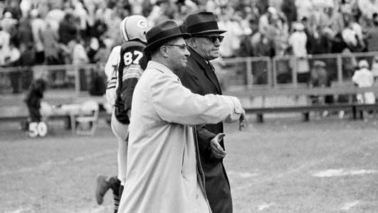 Green Bay Packers coach Vince Lombardi, left, and Chicago Bears coach George Halas shake hands after Green Bay's 24-0 victory on Oct. 1, 1961, at new City Stadium. It was the Packers' first shutout of the Bears since 1935.