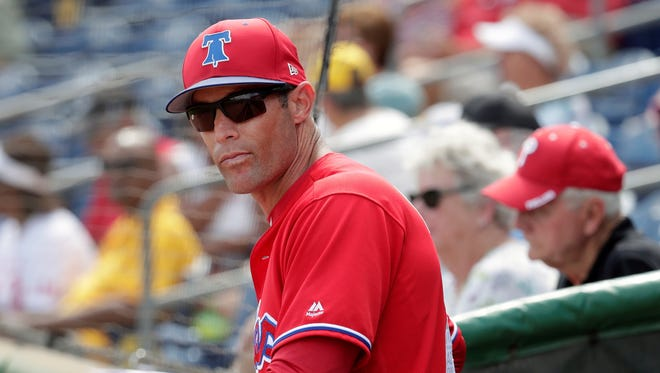 """Philadelphia Phillies manager Gabe Kapler, shown here in a file photo, got into a heated exchanged with a radio show host this week over """"disrespectful"""" remarks. AP FILE PHOTO"""