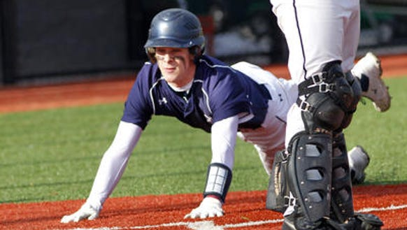 2014 Brighton baseball Ernie Clement sliding